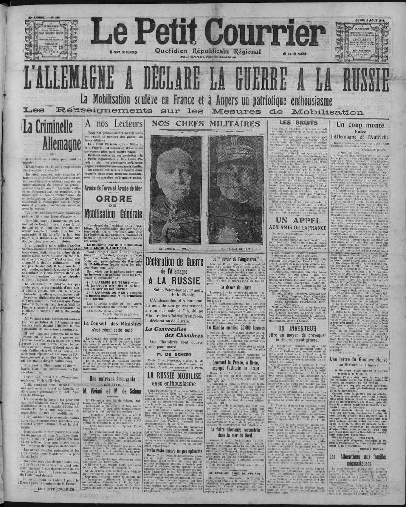 3 aout 1914